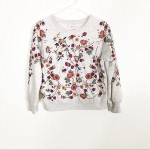 Braeve | Evereve Grey w/ Red Floral Embroidery Top